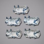 Set of five dishes in the shape of oxen, Ming dynasty