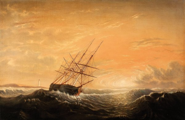Mary Blood Mellen, Ship at Anchor on a Lee Shore, circa 1858