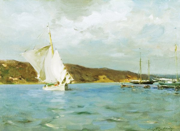 Irving Ramsey Wiles, White Sloop, Peconic Bay, 1907