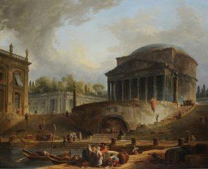 Hubert Robert, Le Panthéon avec le port de Ripetta, Salon of 1767