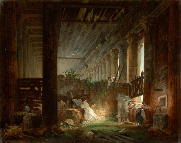 Hubert Robert, A hermit praying in the ruins of a temple, c. 1760