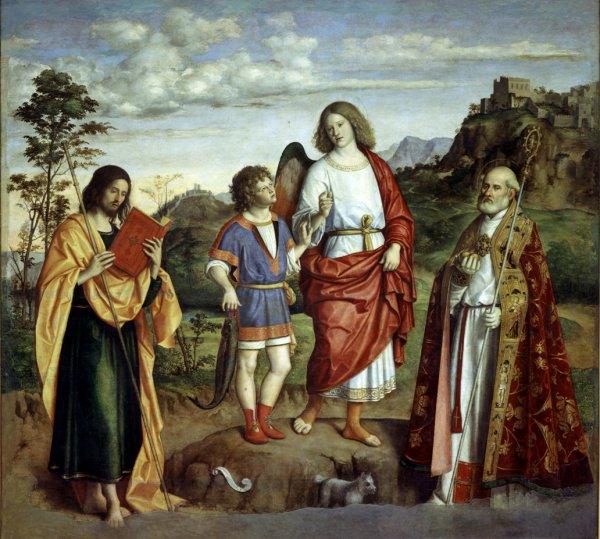Giovanni Battista Cima da Conegliano, The Archangel with Tobiolo and Two Saints