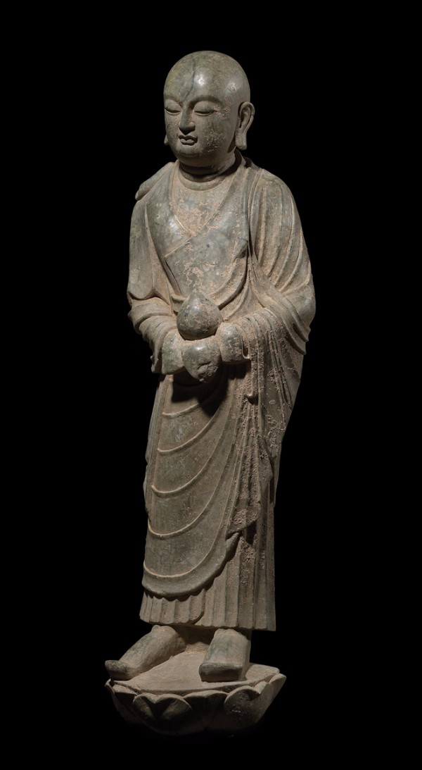 Lohan holding lotus on pedestal, China, Tang Dynasty, 618–907