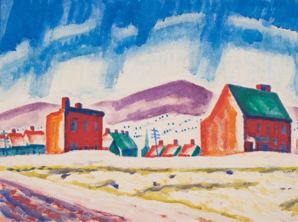 Oscar Bluemner, Paterson, New Jersey (Houses and Mountain), 1912–13