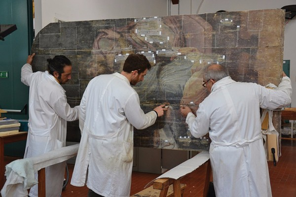 Conservators at the Opificia delle Pietre Dure in Florence