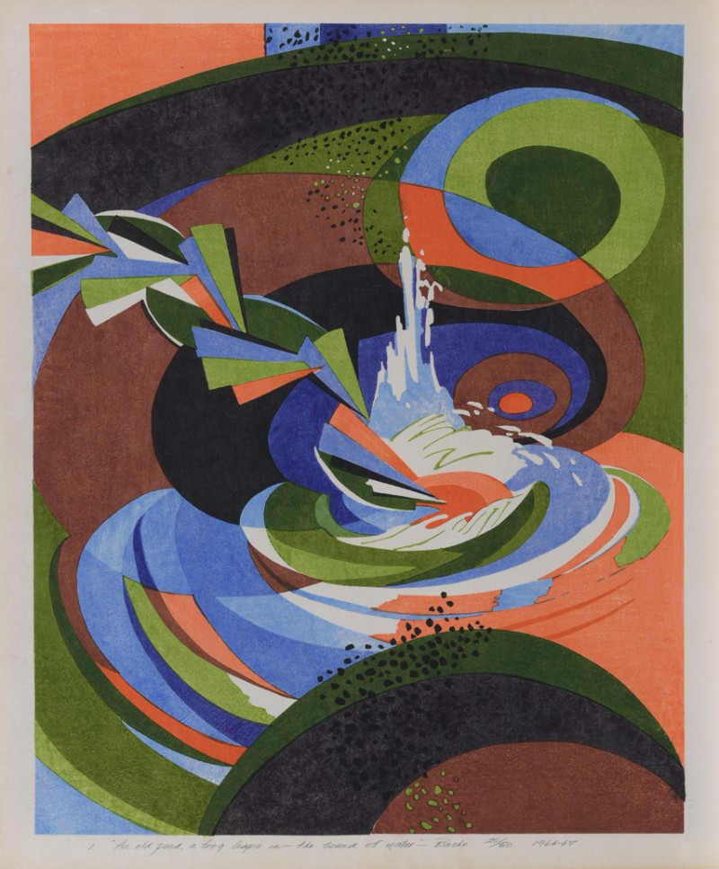 Stanton Macdonald-Wright, Haiga Portfolio, An Old Pond, a Frog Leaps in the Sound of Water,