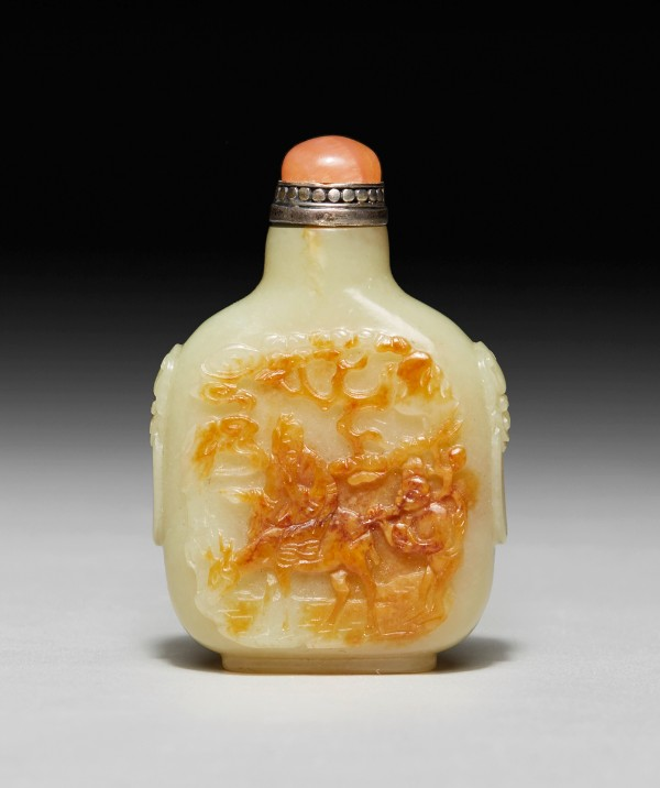 yellow and russet jade snuff bottle