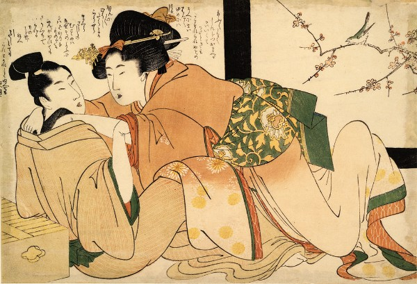 Attributed to Utamaro School, Woman and Wakashu