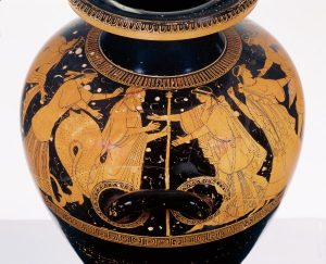 Greek, Attic, attributed to the Berlin Painter, Red- figure stamnos of special shape