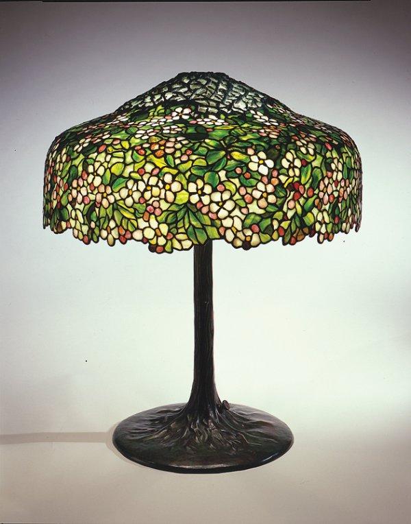 Apple Blossom Library Lamp, circa 1905