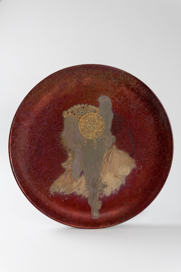 Clément Massier, round ceramic decorative charger