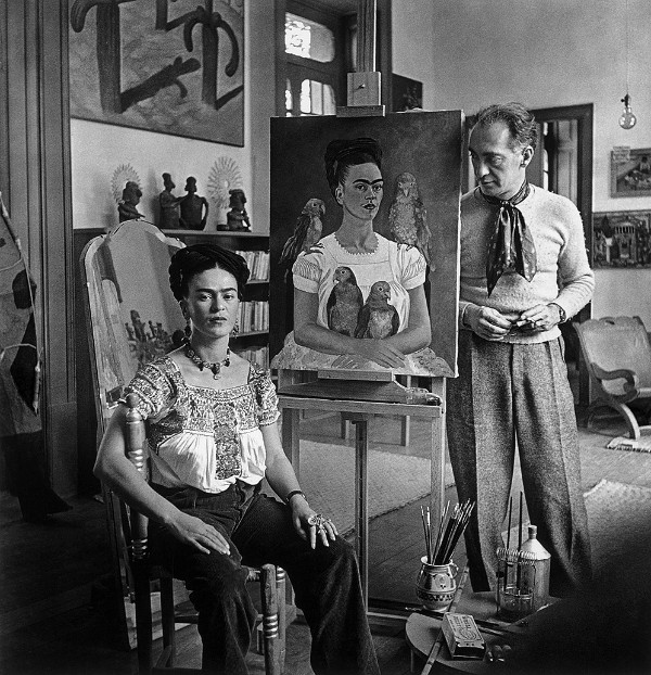 Nickolas Muray, Self-Portrait With Frida Kahlo Seated by Me and My Parrots, 1941