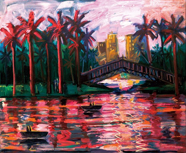 Carlos Almaraz, Echo Park Bridge at Night, 1989.