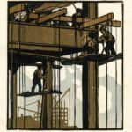 Gustave Baumann, The Builders aka From My Studio Window