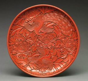 Dish with Peafowls and Peonies, Ming dynasty