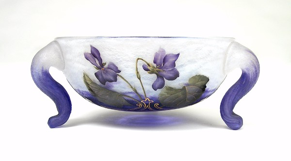 Daum Violets Footed Bowl.