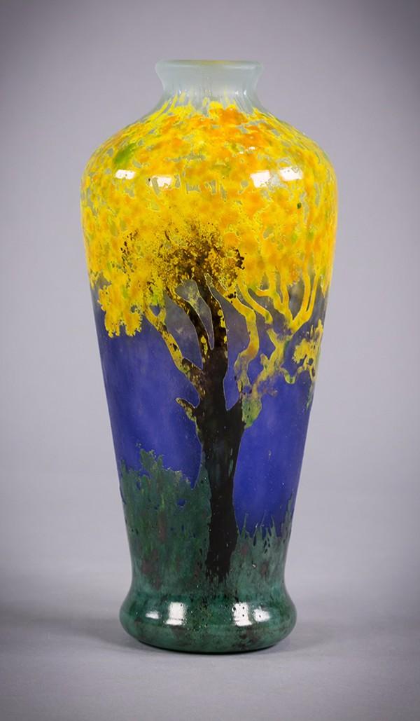 Daum Nancy Vitrified Landscape Vase, circa 1900;