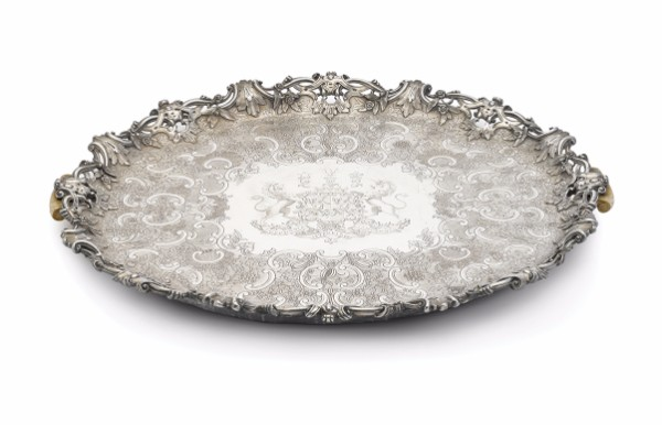 William IV ivory-mounted sterling silver two-handled oval footed tray