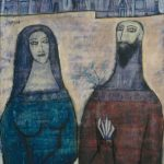 F.N. Souza, Two Saints in a Landscape, 1961