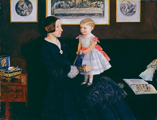 John Everett Millais, Mrs James Wyatt Jr and her daughter Sarah, about 1850