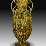 George Ohr, Very tall, mottled two-handled vase, 1895