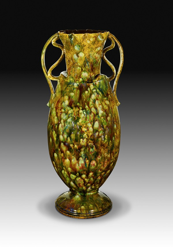 George Ohr Very Tall Mottled Two Handled Vase 1895 Art