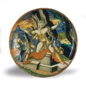 Workshop or follower of Francesco Xanto Avelli, lustered in the workshop of Maestro Giorgio Andreoli, Shallow bowl on low foot with the death of Laocoön and his two sons, 1539
