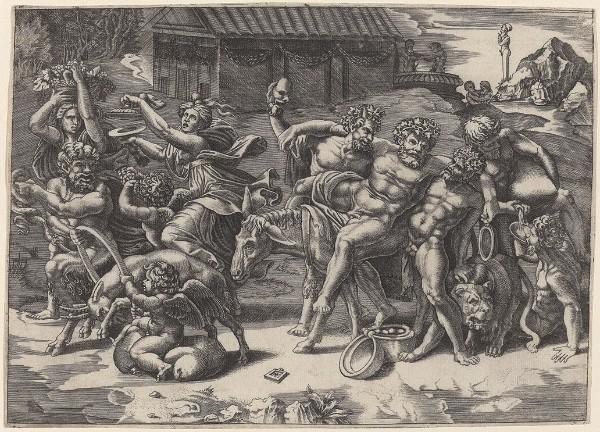 Agostino de' Musi, called Agostino Veneziano, The March of Silenus, circa 1520