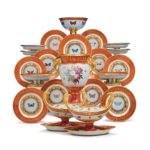 "Selections from a Sevres Porcelain Dessert Service from the ""Marly Rouge"" Service made for Napoleon Iere"