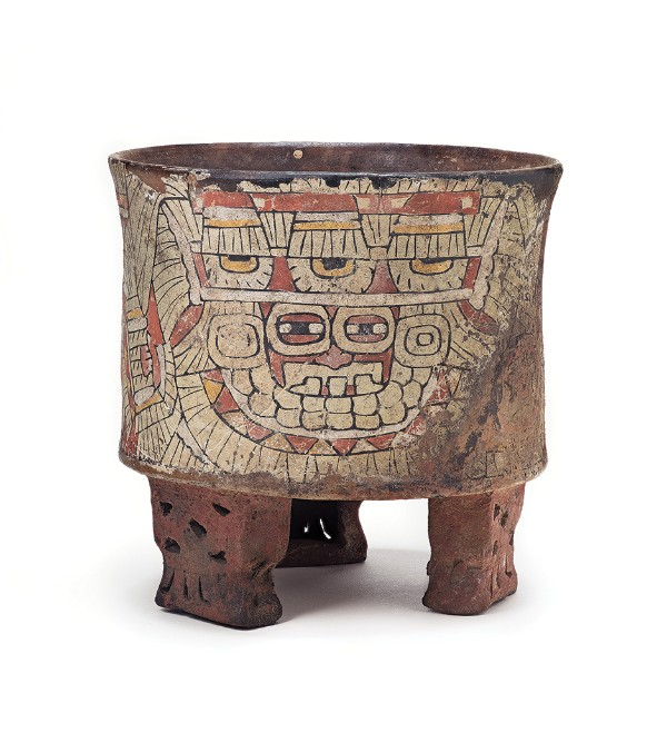 Tripod Vessel with Goggle-Eyed Figure, 450–550