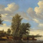Salomon van Ruysdael River Landscape with Ferry, 1649