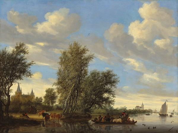 Salomon van Ruysdael River Landscape with Ferry, 1649