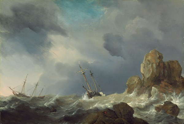 Willem van de Velde the Younger, Ships in a Gale, 1660