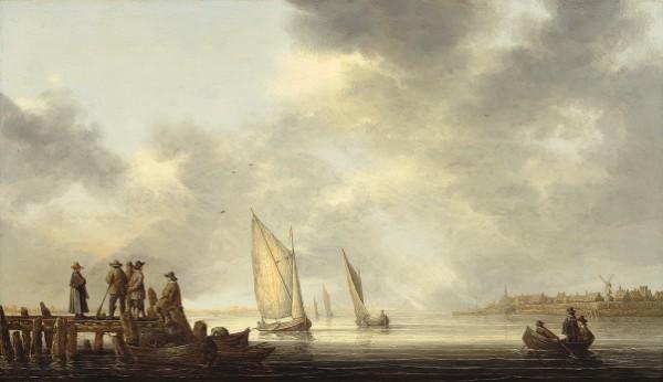 Aelbert Cuyp, A Pier Overlooking Dordrecht, early 1640s