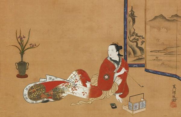 Hishikawa Morotane, Seated Beauty Smoking a Pipe, circa 1690–1710