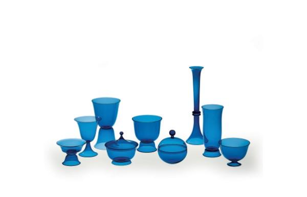 Designed by Josef Hoffmann, Tableware Set of Nine Blown Vessels