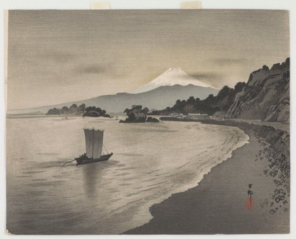 Ohara Koson, Evening Scene with Sail Boats and Mt. Fuji, 1900s