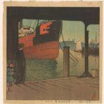 Kawase Hasui, Ferryboat Landing at Tsukishima, from the series Twelve Months of Tokyo, 1921