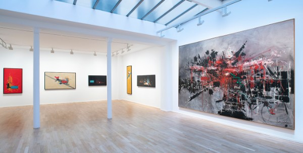 View inside the Georges Mathieu exhibition at Galerie Templon