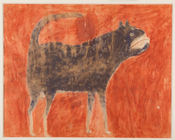 Bill Traylor, Mean Dog (Verso: Man Leading Mule), ca. 1939–1942