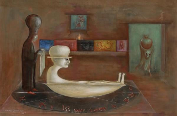 Leonora Carrington, El baño de Rabbi Loew, 1969