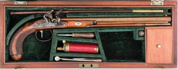 Cased Flintlock Target Pistol