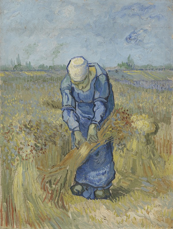 Vincent van Gogh, Peasant Woman Binding Sheaves (after Millet), September 1889