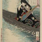 Tsukioka Yoshitoshi, Fujiawara no Ariko Weeping Over Her Lute, 1886