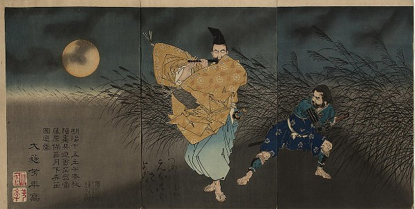 Tsukioka Yoshitoshi, The Heian Poet Yasumasa Playing the Flute by Moonlight, Subduing the Bandit Yasusuke with His Music