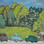Alex Katz, Untitled (Landscape with Cars), circa 1954
