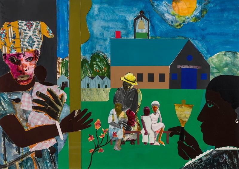 Romare Bearden, School Bell Time, 1978, collage on board.