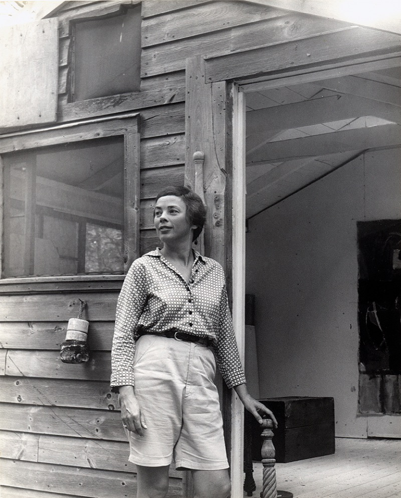 Charlotte Park in the doorway of her Montauk studio, circa 1954;