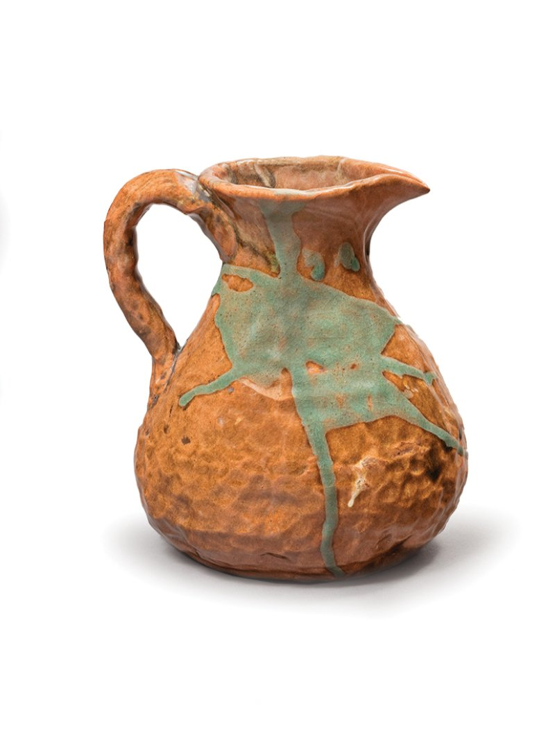 Pitcher with brown-and-green glaze