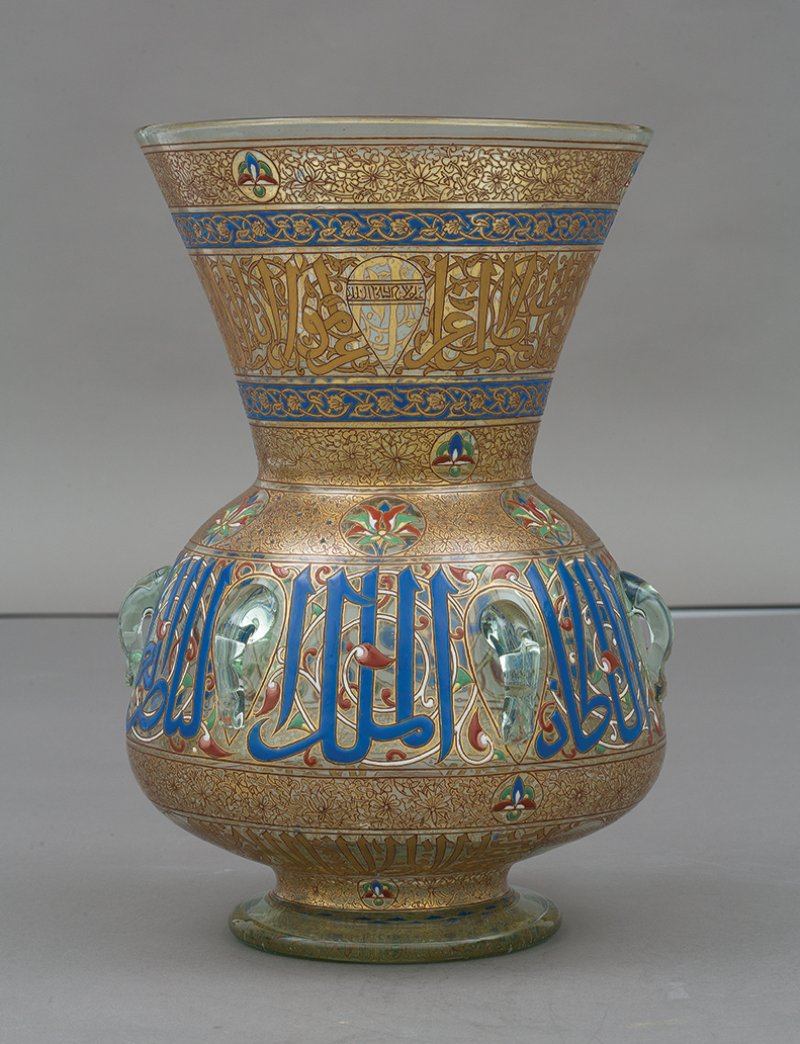 Philippe-Joseph Brocard, Gilt and enameled glass mosque lamp, c. 1877